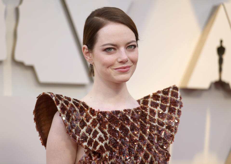 Emma Stone arrives at the Oscars on Sunday, Feb. 24, 2019, at the Dolby Theatre in Los Angeles. (Photo by Richard Shotwell/Invision/AP)