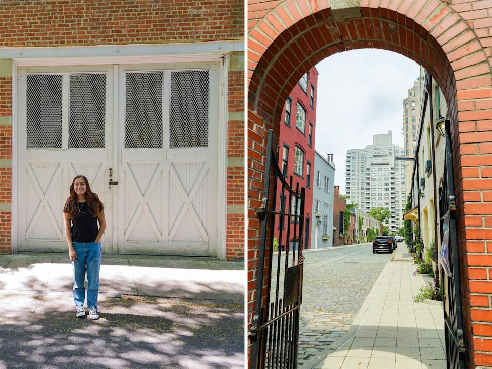 Left: The author standing in front of a residential mews. Right: An archway leading to a cobblestone street of residential mews and cloudy skies.