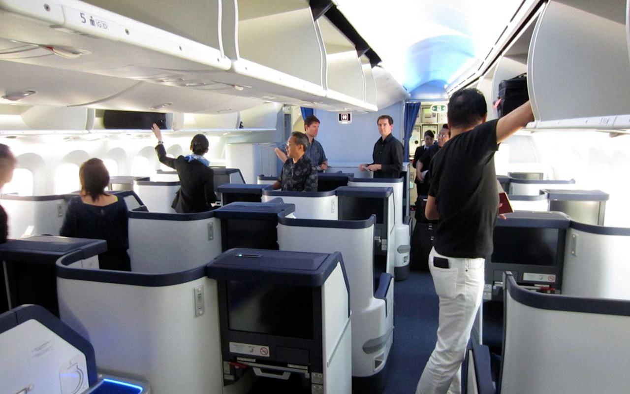 "<p><a rel=""nofollow"" href=""http://www.travelandleisure.com/slideshows/worlds-best-airlines/2"">ANA</a> is the first Japanese airline to have a fully-flat staggered seat configuration on select aircrafts, making every seat an aisle seat with 50 percent more room than conventional layouts. You'll be far from bored with more than 300 programs of digital on demand movies, videos, music, and games on a 17-inch LCD widescreen touch panel. Sony noise-canceling headphones are given out to ensure no neighbor is a bother. Plus, passengers in ANA's select business class cabins can enjoy cuisine curated by Michelin-starred Chef Albert Tse of the Conrad Tokyo and Chef Antonio Cardoso of the Conrad New York. The seasonal menus are served in conjunction with specialty cocktails, fine wines, champagne, and, of course, plenty of sake.</p>"