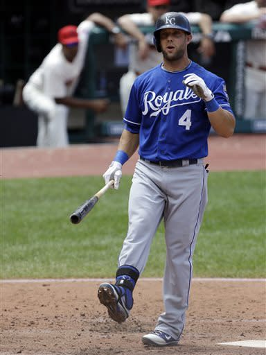 Kansas City Royals' Alex Gordon reacts after striking out against Cleveland Indians starting pitcher Ubaldo Jimenez in the fourth inning of a baseball game on Sunday, July 14, 2013, in Cleveland. (AP Photo/Tony Dejak)