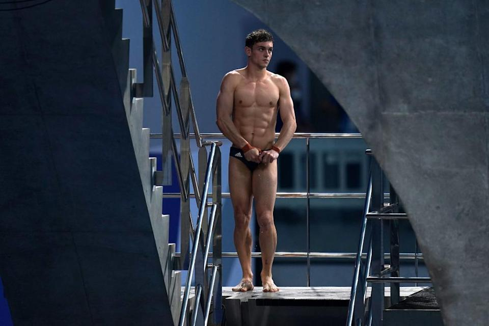 Tom Daley during the men's synchronised 10m platform final at the Tokyo Aquatics Centre.