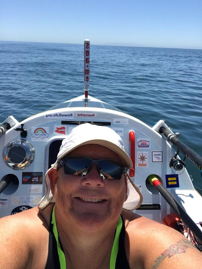 """Angela Madsen on her boat from the first couple days when she had cell phone service. <span class=""""copyright"""">(Courtesy of Deb Madsen)</span>"""