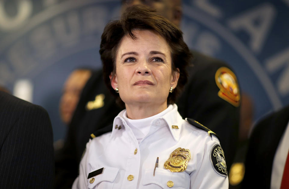 FILE - In this Thursday, Jan. 4, 2018, file photo, Atlanta Police Chief Erika Shields attends a news conference in Atlanta. On Saturday, June 13, 2020, Atlanta Mayor Keisha Lance Bottoms announced that Shields is resigning after an officer fatally shot a man who snatched an officer's Taser and ran after a struggle in a restaurant parking lot. (AP Photo/David Goldman, File)