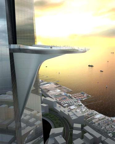 The three-petal footprint is ideal for residential units, and the tapering wings produce an aerodynamic shape that helps reduce structural loading due to wind vortex shedding. The Kingdom Tower design embraces its architectural pedigree, taking full advantage of the proven design strategies and technological strategies of its lineage, refining and advancing them to achieve new heights.