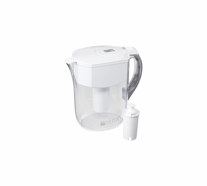 """<p><strong>Brita</strong></p><p>amazon.com</p><p><strong>$30.49</strong></p><p><a href=""""https://www.amazon.com/dp/B00HEYJ08S?tag=syn-yahoo-20&ascsubtag=%5Bartid%7C10060.g.37002009%5Bsrc%7Cyahoo-us"""" rel=""""nofollow noopener"""" target=""""_blank"""" data-ylk=""""slk:Shop Now"""" class=""""link rapid-noclick-resp"""">Shop Now</a></p><p>For most people's everyday needs, Brita's Grand Water Pitcher can hold ten cups of water, free from chlorine, mercury, copper, zinc, and cadmium. The electronic filter indicator lets you know when it's time to replace the filter—depending on if you use Brita's Standard or Longlast filter, which last for two or six months, respectively. This pitcher's design is also space efficient and easy to pour and refill with the locking lid.</p>"""