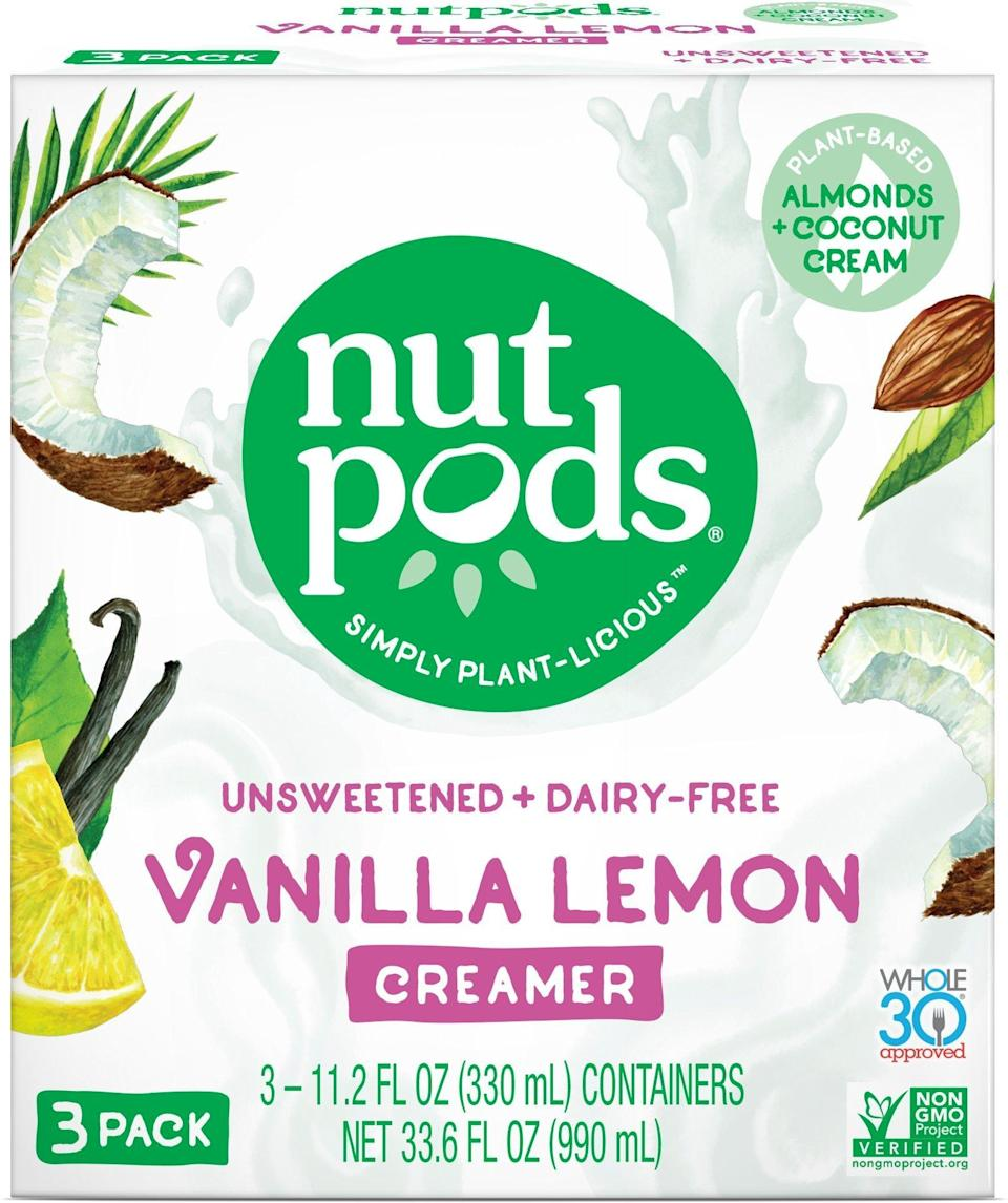 """<p>Replace your milk creamer with this <a rel=""""nofollow noopener"""" href=""""https://www.popsugar.com/buy/Nutpods-Original-Dairy-Free-Creamer-349649?p_name=Nutpods%20Original%20Dairy-Free%20Creamer&retailer=amazon.com&price=11&evar1=fit%3Auk&evar9=45059489&evar98=https%3A%2F%2Fwww.popsugar.com%2Ffitness%2Fphoto-gallery%2F45059489%2Fimage%2F45059639%2FNutpods-Original-Dairy-Free-Creamer&prop13=desktop&pdata=1"""" target=""""_blank"""" data-ylk=""""slk:Nutpods Original Dairy-Free Creamer"""" class=""""link rapid-noclick-resp"""">Nutpods Original Dairy-Free Creamer</a> ($11, originally $15). It's dairy- and soy-free, contains no added sugar, and has zero carbs. </p>"""