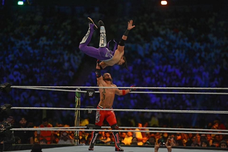 "<p>Through the<a href=""https://www.sportskeeda.com/slideshow/10-wwe-rules-we-conveniently-forget"" rel=""nofollow noopener"" target=""_blank"" data-ylk=""slk:ropes"" class=""link rapid-noclick-resp""> ropes</a>? That's just fine. </p>"
