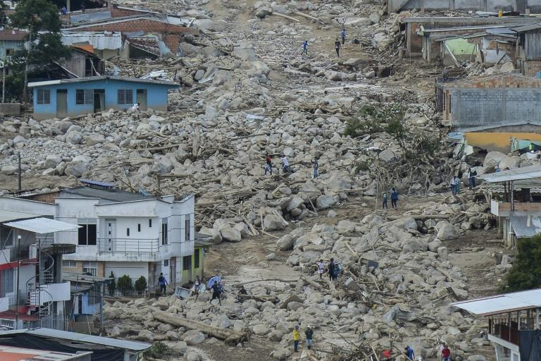 Aerial view of the extensive damage caused by mudslides as a result of heavy rains, in Mocoa, Putumayo department, Colombia on April 3, 2017