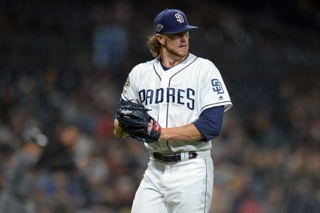 FILE PHOTO: May 20, 2019; San Diego, CA, USA; San Diego Padres starting pitcher Chris Paddack (59) reacts after the top of the sixth inning against the Arizona Diamondbacks at Petco Park. Mandatory Credit: Jake Roth-USA TODAY Sports