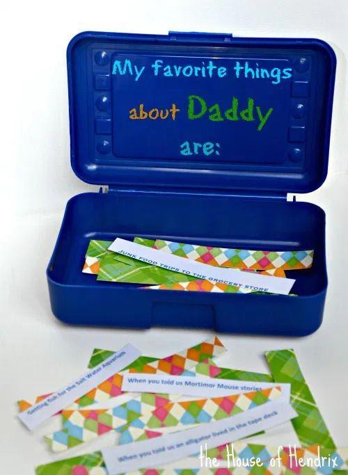 """<p>Brainstorm some of your favorite memories and write them down on strips of paper to be kept in a box. Then, in the future, Dad can pull out those strips to remember all those special memories again.</p><p><strong>Get the tutorial at <a href=""""http://www.thehouseofhendrix.com/2014/06/10/box-of-memories/"""" rel=""""nofollow noopener"""" target=""""_blank"""" data-ylk=""""slk:The House of Hendrix"""" class=""""link rapid-noclick-resp"""">The House of Hendrix</a>.</strong></p><p><a class=""""link rapid-noclick-resp"""" href=""""https://go.redirectingat.com?id=74968X1596630&url=https%3A%2F%2Fwww.walmart.com%2Fsearch%2F%3Fquery%3Dpencil%2Bboxes&sref=https%3A%2F%2Fwww.thepioneerwoman.com%2Fholidays-celebrations%2Fg36333267%2Ffathers-day-activities%2F"""" rel=""""nofollow noopener"""" target=""""_blank"""" data-ylk=""""slk:SHOP PENCIL BOXES"""">SHOP PENCIL BOXES</a></p>"""