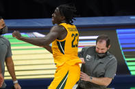 Baylor coach Scott Drew celebrates with Jonathan Tchamwa Tchatchoua following the team's NCAA college basketball game against Illinois, early Thursday, Dec. 3, 2020, in Indianapolis. Baylor won 82-69. (AP Photo/Darron Cummings)
