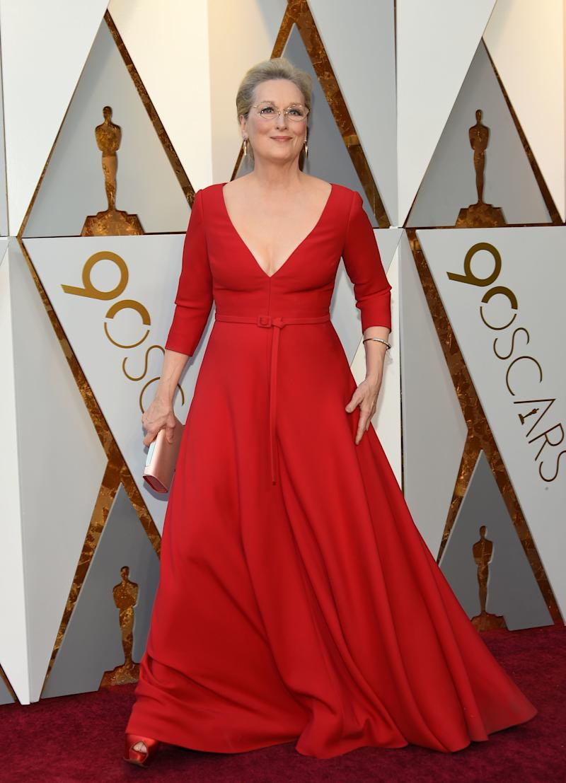 Meryl Streep on the Oscars red carpet. (VALERIE MACON via Getty Images)