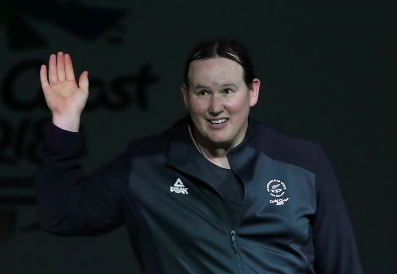 FILE PHOTO: Laurel Hubbard of New Zealand is introduced at Gold Coast 2018 Commonwealth Games