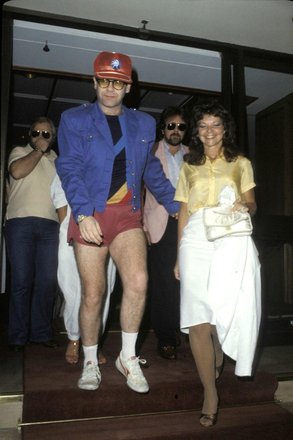 <p>Elton John took his shorts game very seriously. The singer even wore these beauties on his wedding day (after the ceremony, of course).</p>