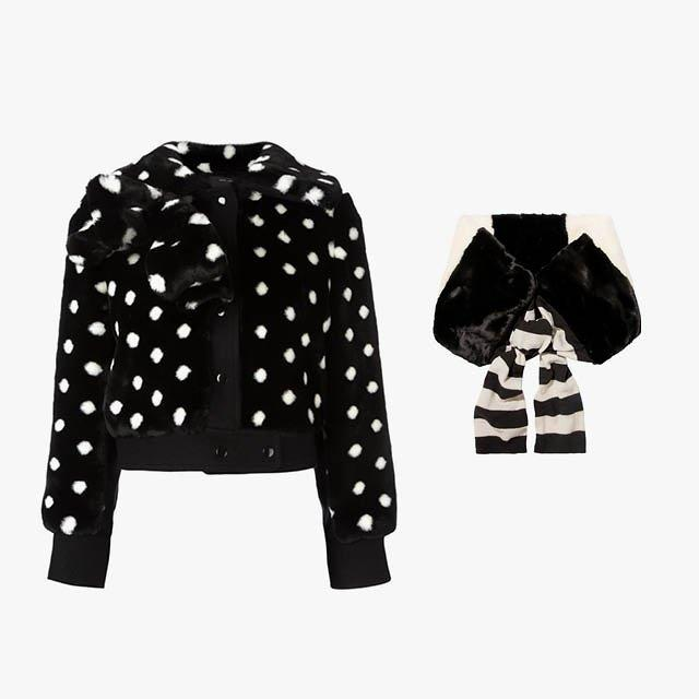 """<p>Marc Jacobs faux fur dotted jacket, $897, <a rel=""""nofollow"""" href=""""http://rstyle.me/n/b584dvbpgif?mbid=synd_yahoolife"""">farfetch.com</a>; Marc Jacobs striped faux fur and wool scarf, $450, <a rel=""""nofollow"""" href=""""http://rstyle.me/n/b584gzbpgif?mbid=synd_yahoolife"""">net-a-porter.com</a></p>"""