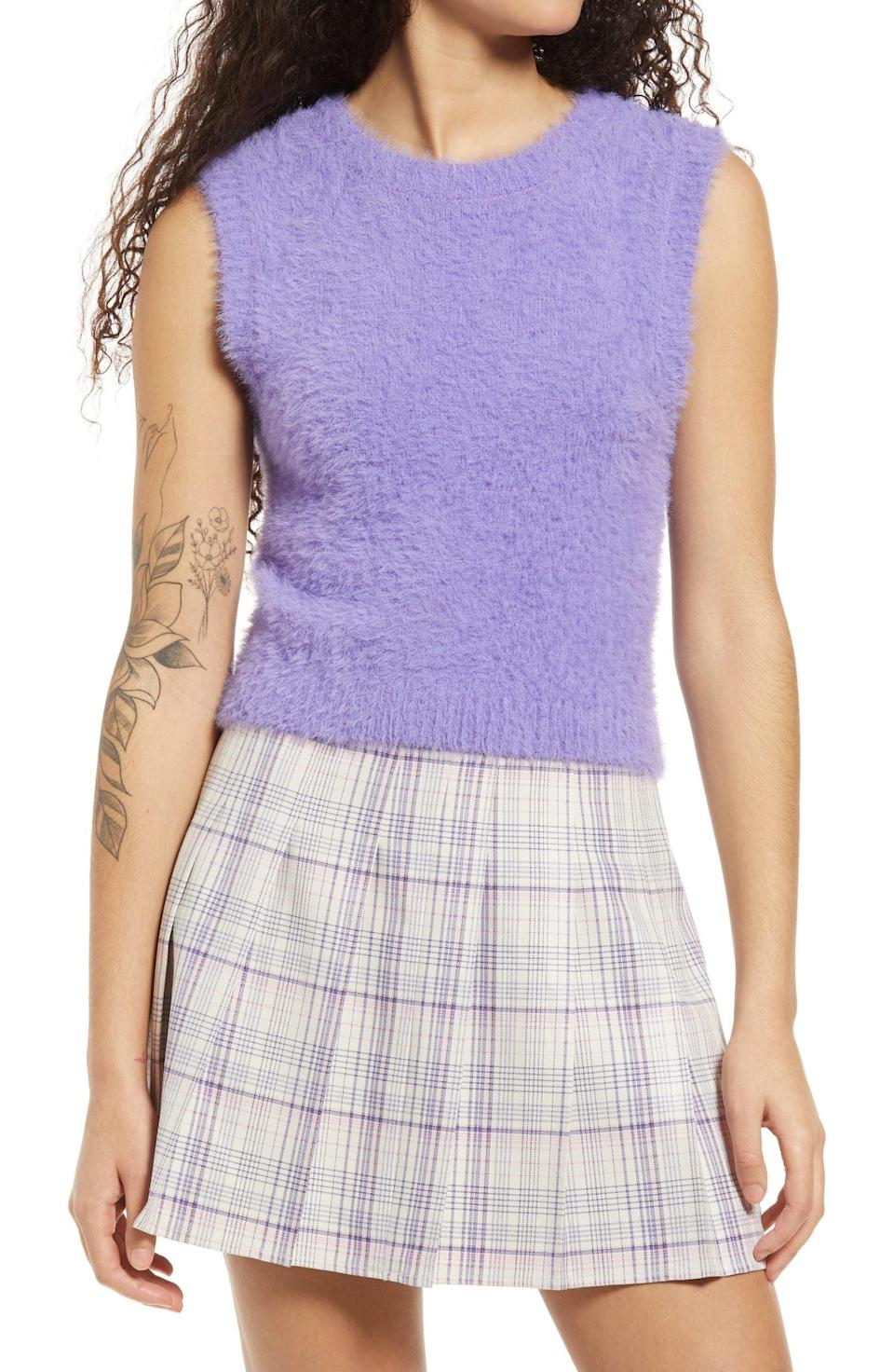 <p>You'll like the fuzzy material of this <span>BP. Fitted Sweater Vest</span> ($39).</p>