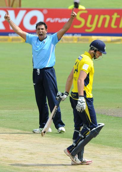 PRETORIA, SOUTH AFRICA - OCTOBER 10: Azhar Mahmood of Auckland Aces celebrates the wicket of James Vince during the Karbonn Smart CLT20 Champions League Twenty20 pre-tournament Qualifying Stage match between Hampshire Royals (England) and Auckland Aces (New Zealand) at SuperSport Park on October 10, 2012 in Pretoria, South Africa. (Photo by Lee Warren / Gallo Images/Getty Images)