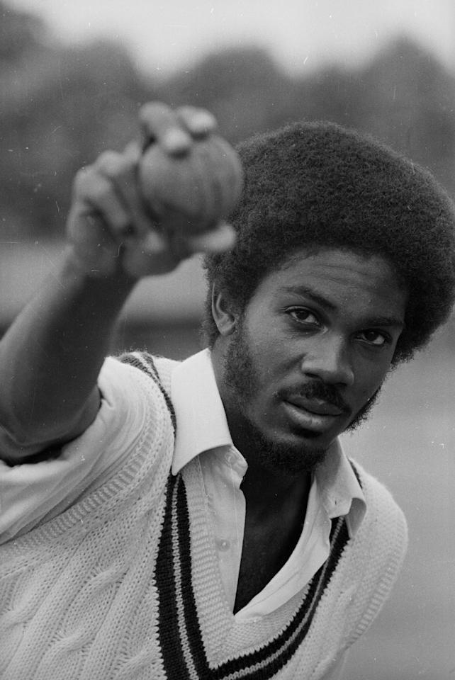 17th June 1976: Jamaican-born cricketer Michael Holding, player for West Indies and Derbyshire, demonstrates his fast-bowling action. (Photo by Evening Standard/Getty Images)