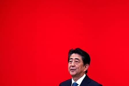 89348014_In this picture taken on July 24 2019 Japanese Prime Minister Shinzo Abe speaks on the.jpg