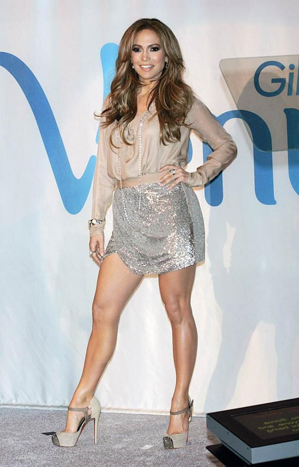 "New ""American Idol"" judge Jennifer Lopez showed off her gorgeous gams in a super-sexy sequined Haute Hippie mini and strappy, studded Christian Louboutins upon being named the first-ever Global Brand Ambassador for Venus razors at a Radio City Music Hall-set fete in NYC. ST/<a href=""http://www.splashnewsonline.com"" target=""new"">Splash News</a> - February 2, 2011"