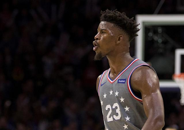 "<a class=""link rapid-noclick-resp"" href=""/nba/players/4912/"" data-ylk=""slk:Jimmy Butler"">Jimmy Butler</a> might have just had the best 30 seconds of any player this season. (Getty Images)"