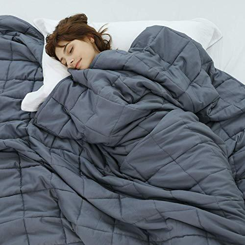 """Weighted Idea Queen Size Weighted Blanket 20 lbs for Adult 60"""" ×80"""" (Cooling and Soft, Dark Gr…"""