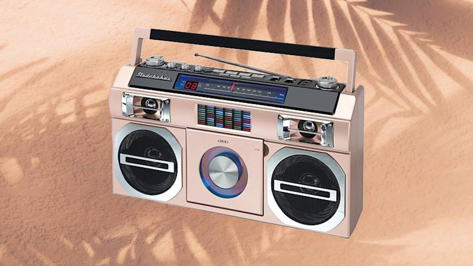 Channel the 80's with this retro boombox available in four fun colors. (Photo: HSN)