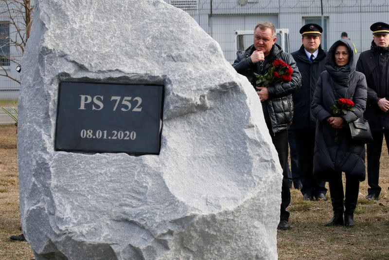 Foundation stone laying ceremony for a future memorial site to the people killed in a plane shot down in Iran, at the Boryspil Airport outside Kiev
