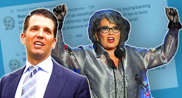 Donald Trump Jr.,  Roseanne Barr (Photo illustration: Yahoo News; photos: Carolyn Kaster/AP, Kevin Winter/Getty Images)