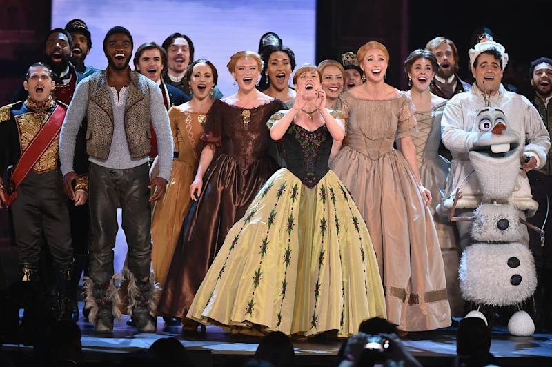 NEW YORK, NY - JUNE 10: Jelani Alladin, Patti Murin, Greg Hildreth, and the cast of Frozen perform onstage during the 72nd Annual Tony Awards at Radio City Music Hall on June 10, 2018 in New York City. (Photo by Theo Wargo/Getty Images for Tony Awards Productions)