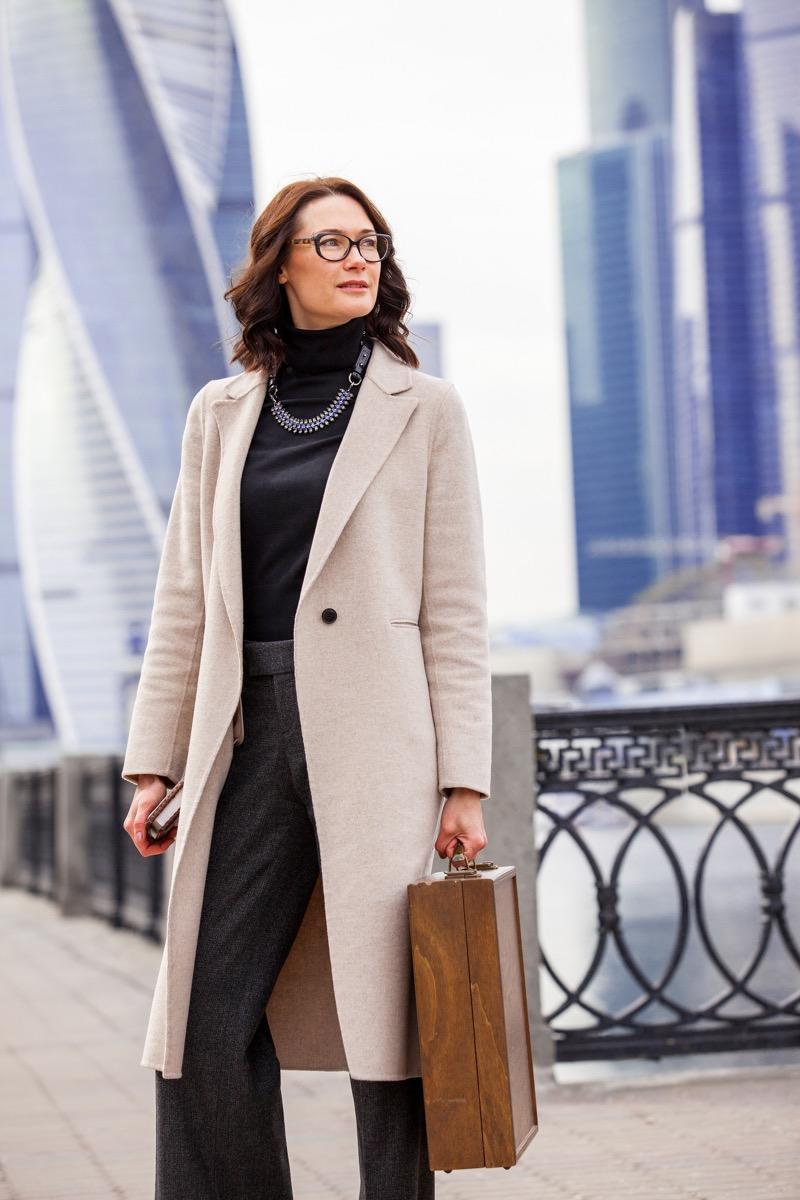 Fashionable Older Woman Outside in a Coat Style Tips After 40