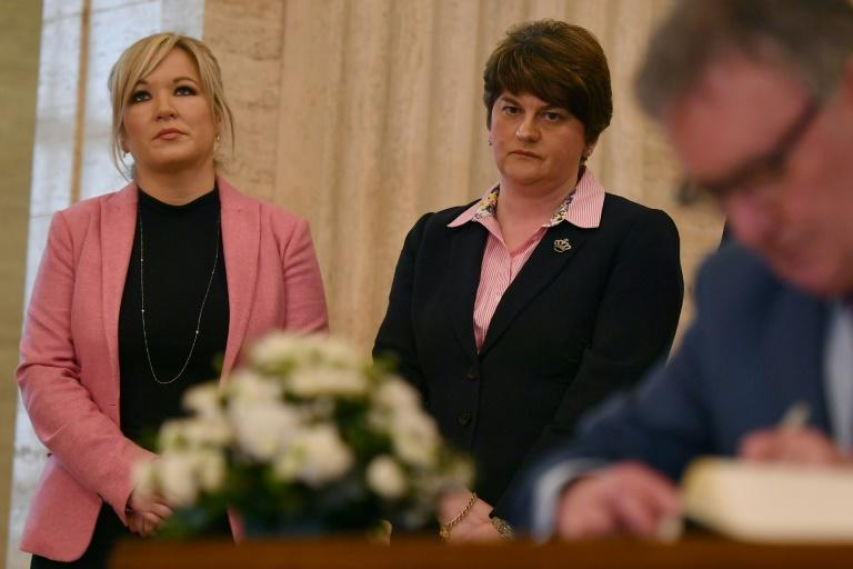Michelle O'Neill leader of Sinn Fein in Northern Ireland (l) and Democratic Unionist Party leader Arlene Foster are on opposite sides of the abortion debate, as they are on many other issues (AFP Photo/BEN STANSALL)