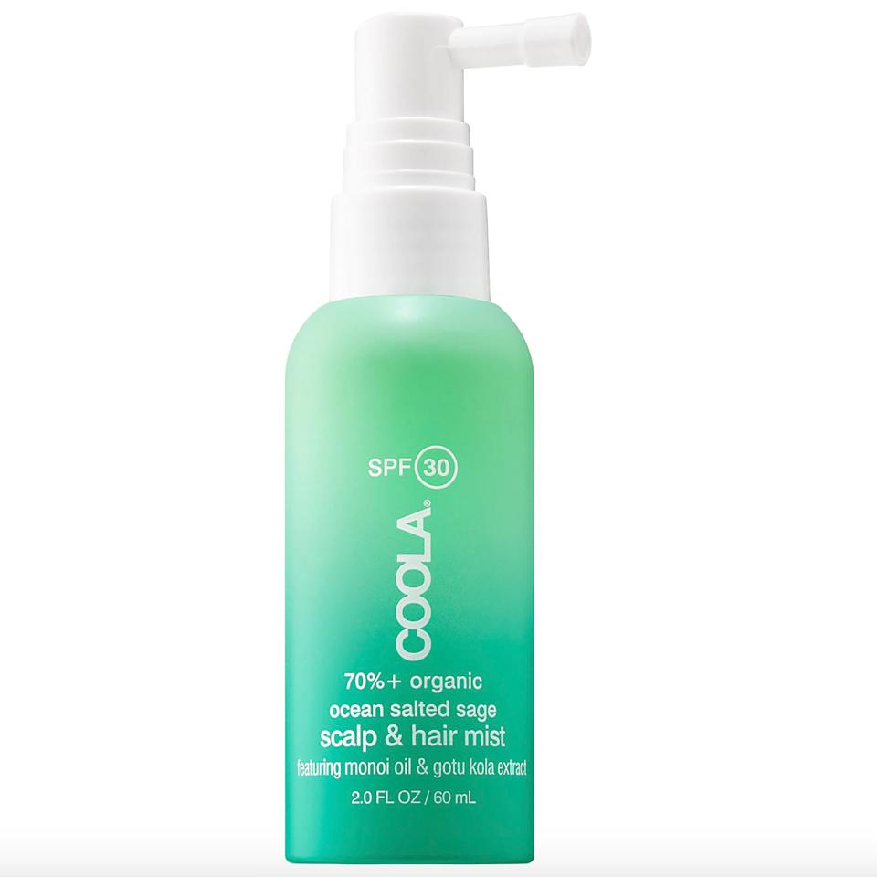 """<p>While the avobenzone and other chemical blockers in the Coola Organic Scalp & Hair Mist work to protect the scalp and hair from UV damage, plant-derived extracts (soybean and palm) condition and give each strand lightweight hydration.</p> <p><strong>$26</strong> (<a href=""""https://shop-links.co/1639250251777173324"""" rel=""""nofollow"""">Shop Now</a>)</p>"""