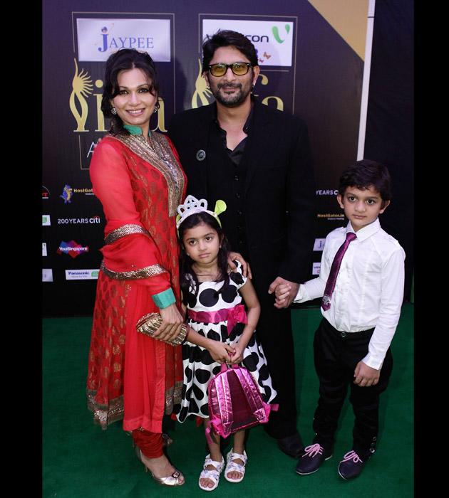 Arshad Warsi with his wife Maria Goretti and their two kids. Doesn't the lil one look like a princess with the crown on?