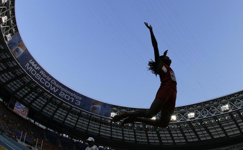 United States' Brittney Reese competes in the women's long jump final at the World Athletics Championships in the Luzhniki stadium in Moscow, Russia, Sunday, Aug. 11, 2013. (AP Photo/David J. Phillip)