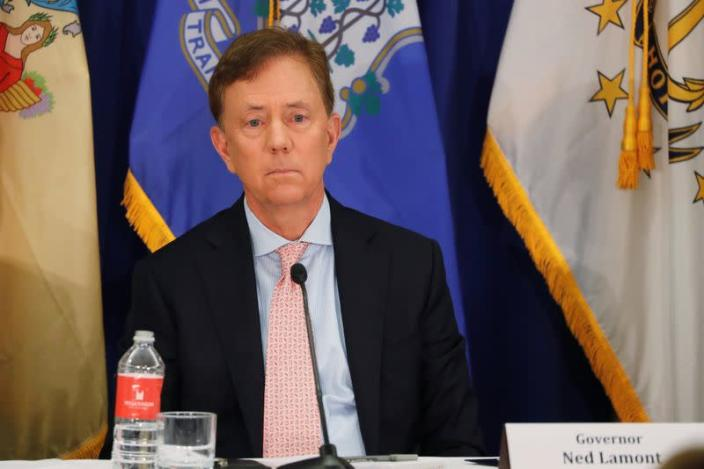 Connecticut Governor Ned Lamont takes part in a regional cannabis and vaping summit in New York City, New York