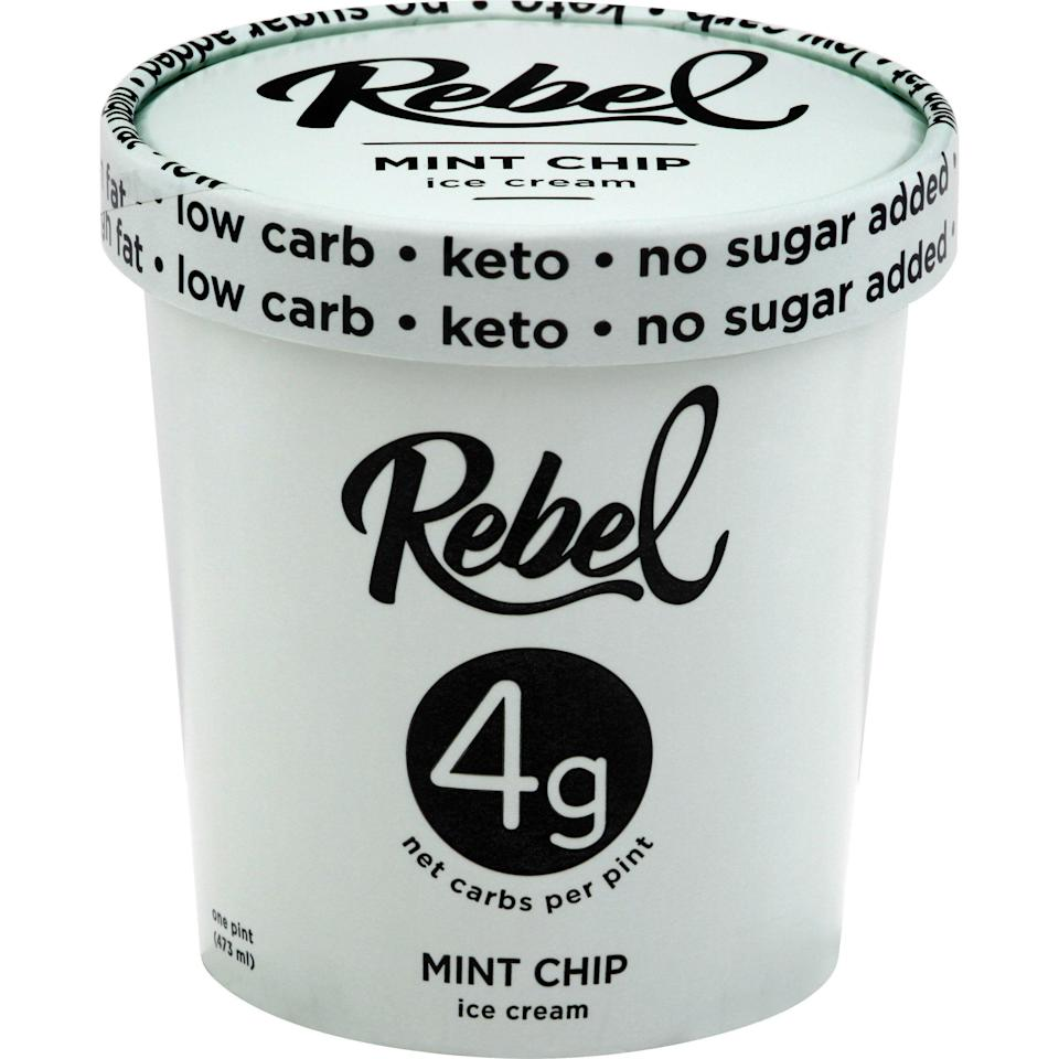"""<p><strong>Rebel Ice Cream</strong></p><p>walmart.com</p><p><a href=""""https://go.redirectingat.com?id=74968X1596630&url=https%3A%2F%2Fwww.walmart.com%2Fip%2F456221566&sref=https%3A%2F%2Fwww.menshealth.com%2Fnutrition%2Fg33390788%2Fbest-keto-ice-cream%2F"""" rel=""""nofollow noopener"""" target=""""_blank"""" data-ylk=""""slk:BUY NOW"""" class=""""link rapid-noclick-resp"""">BUY NOW</a></p><p>Their pint flavors range from 4 to 8 grams net carbs, making them an excellent keto option, but the Mint Chip in particular has 150 calories, 4 g net carbs, 0 g sugar, and a delicious flavor.</p>"""