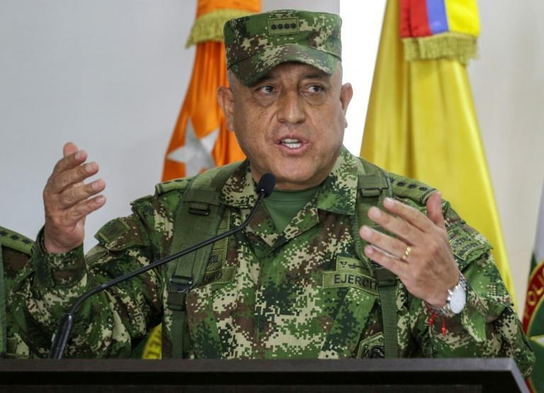General Commander of the Military Forces of Colombia, Luis Fernando Navarro Jimenez, speaks during a press conference in Bogota, on July 9, 2021