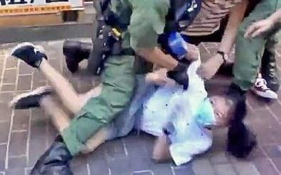Screengrabs from a video of a 12-year-old girl being tackled by Hong Kong police