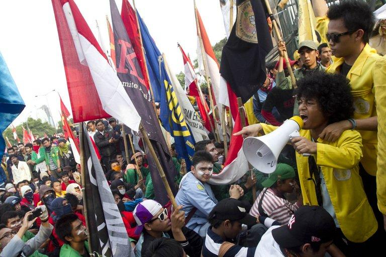 Indonesians protest at a rally against the government's plan to hike prices of fuel, in Jakarta, on March 30, 2012. Fuel subsidies have been a flashpoint issue for decades in Indonesia, and lowering them in the past has led to nationwide protests