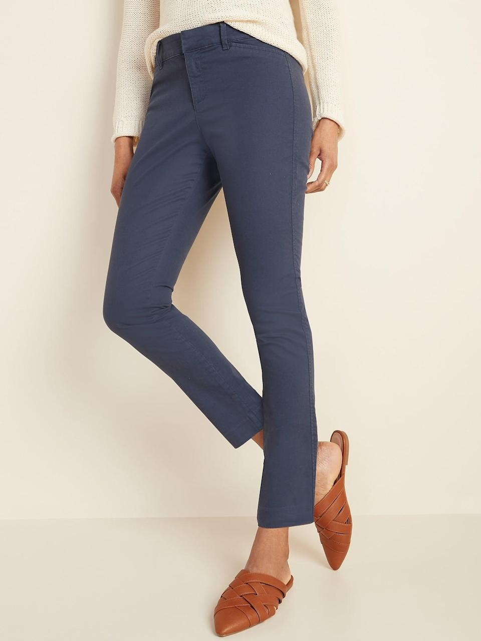 <p>The cropped hem on these <span>Old Navy Mid-Rise Pixie Ankle Chinos</span> ($28, originally $35) is perfect.</p>