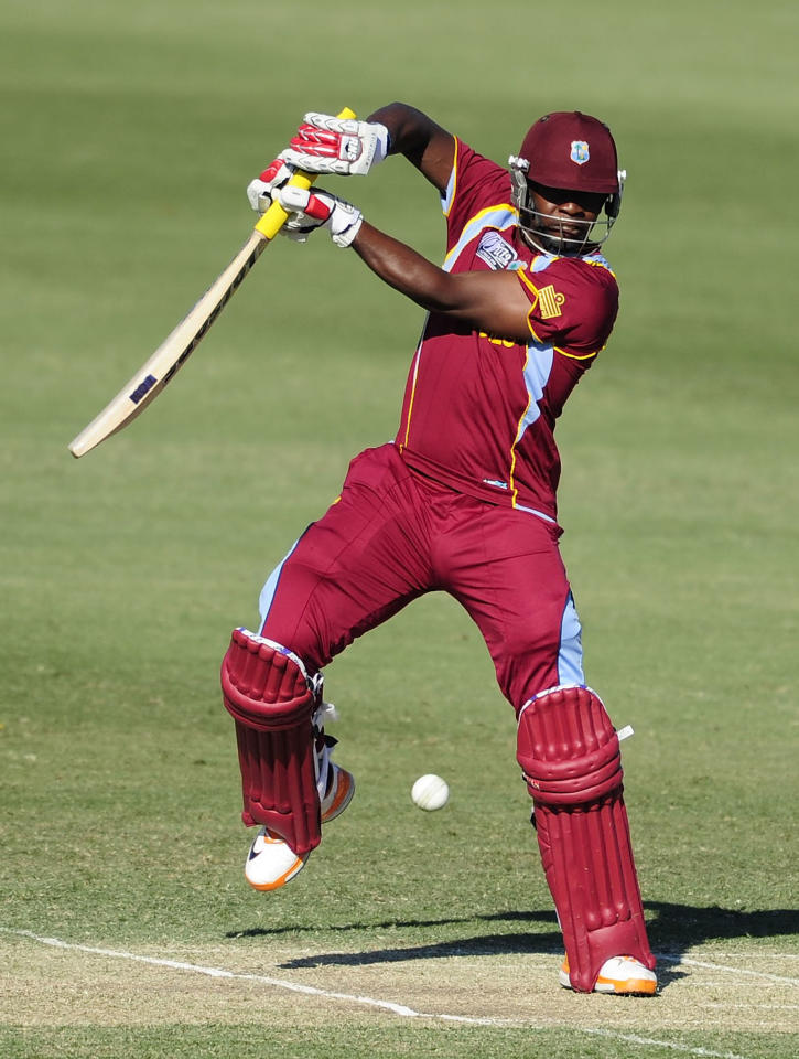 TOWNSVILLE, AUSTRALIA - AUGUST 12:  Kyle Mayers of the West Indies bats  during the ICC U19 Cricket World Cup 2012 match between the West Indies and India at Tony Ireland Stadium on August 12, 2012 in Townsville, Australia.  (Photo by Ian Hitchcock-ICC/Getty Images)