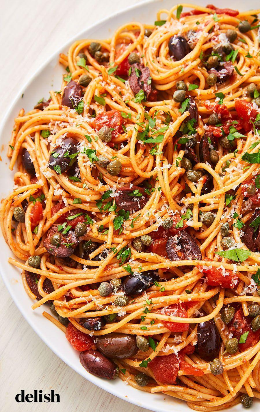 """<p>It's definitely not lacking in the flavor department. </p><p>Get the recipe from <a href=""""https://www.delish.com/cooking/recipe-ideas/a26092759/pasta-puttanesca-recipe/"""" rel=""""nofollow noopener"""" target=""""_blank"""" data-ylk=""""slk:Delish"""" class=""""link rapid-noclick-resp"""">Delish</a>.</p>"""