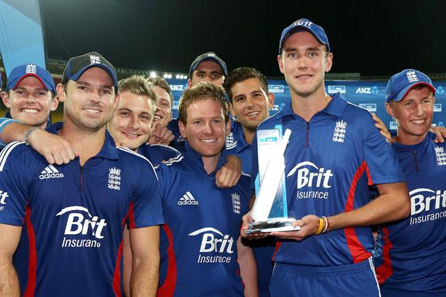 Captain Stuart Broad of England holds the series trophy at the conclusion of the third Twenty20 International match between New Zealand and England at Westpac Stadium on February 15, 2013 in Wellington, New Zealand.  (Photo by Hagen Hopkins/Getty Images)