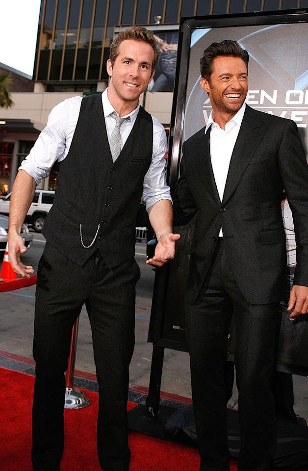 "<a href=""http://movies.yahoo.com/movie/contributor/1800025139"">Ryan Reynolds</a> and <a href=""http://movies.yahoo.com/movie/contributor/1800354816"">Hugh Jackman</a> at the Los Angeles premiere of <a href=""http://movies.yahoo.com/movie/1808665084/info"">X-Men Origins: Wolverine</a> - 04/28/2009"