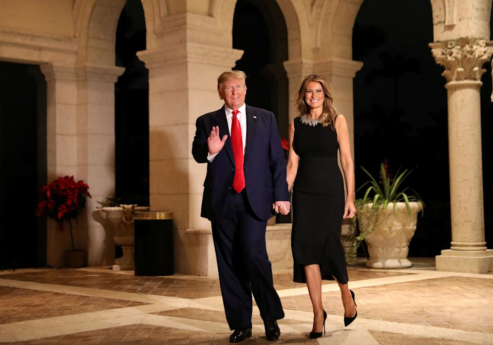 President Donald Trump and first lady Melania Trump arrive to their Christmas Eve party at Trump's Mar-a-Lago resort in Palm Beach, Florida, December 24, 2019. (Photo: Leah Millis / Reuters)