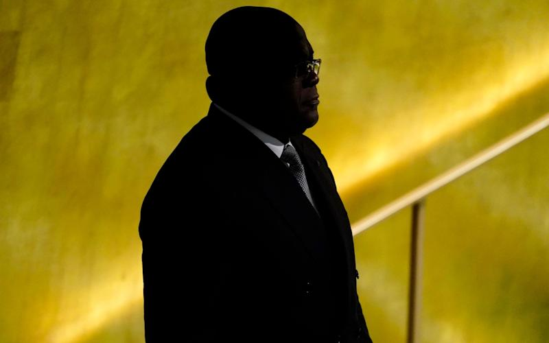 The personal chaffeur of president Felix Tshisekedi, pictured arriving at the UN General Assembly last month, and three of his bodyguards were on board - REUTERS