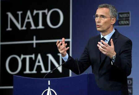 NATO Secretary General Stoltenberg holds a news conference during a NATO foreign ministers meeting at the Alliance's headquarters in Brussels