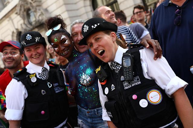 <p>Participants and police officers take part in the annual Pride in London Parade, which started in Portland Place and ends in Whitehall, in central London, Britain, July 8, 2017. (Photo: Neil Hall/Reuters) </p>
