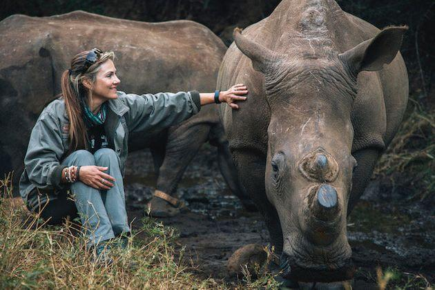 Niewoudt with her favourite rhino, Lunar, who recently died.